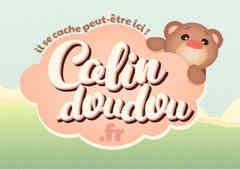 """logo de """"calindoudou"""" par caroline pillet alias koxintox qui est graphiste dans le Tarn à lisle-sur-tarn, illustration d'un nounours caché derrière un nuage, il est perdu et triste mais heureusement on peut le retrouver sur le site calindoudou!"""