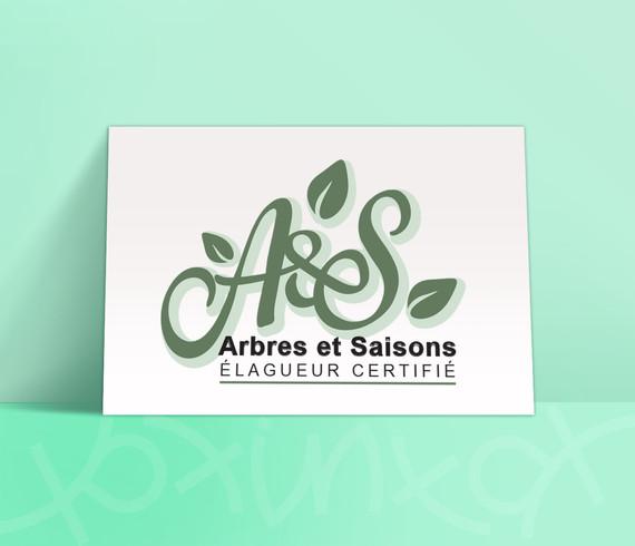 Arbres & Saisons élagueur carte de visite, koxintox graphiste illustrateur à Lisle sur Tarn, Caroline Pillet,création logo,illustration