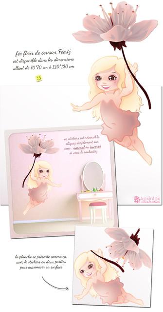 stickersmalin_stickers_fée_fleur_de_cerisier, koxintox graphiste illustrateur à Lisle sur Tarn, Caroline Pillet,création logo,illustration