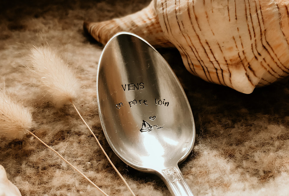 Cuillère à soupe gravée à la main - Viens on part loin