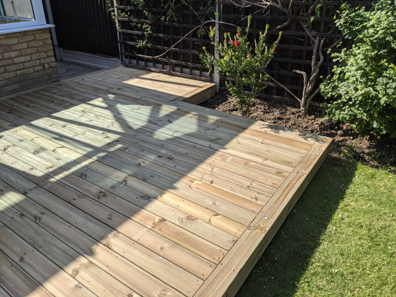 Softwood decking with recessed lights