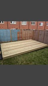 Softwood decking with picture frame