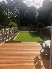 Hardwood decking, new lawn