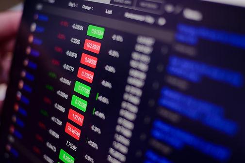 stock exchange monitor screen closeup on