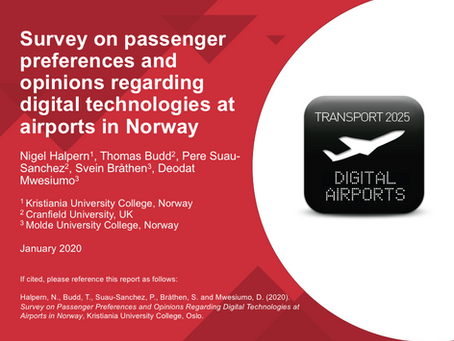 Survey on passenger preferences and opinions regarding digital technologies at airports in Norway