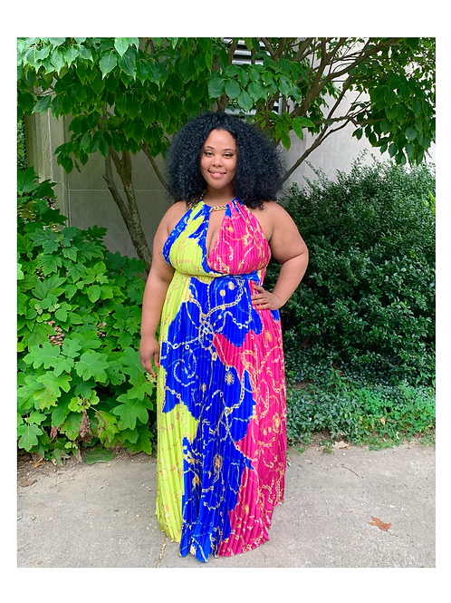 Jewel Pleated Maxi Dress