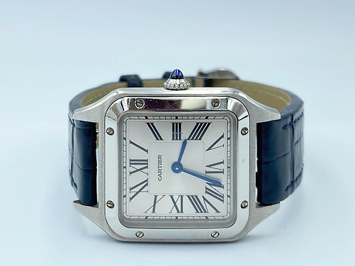 Cartier Santos Dumont steel bluedial 2019 box & papers extended 2027