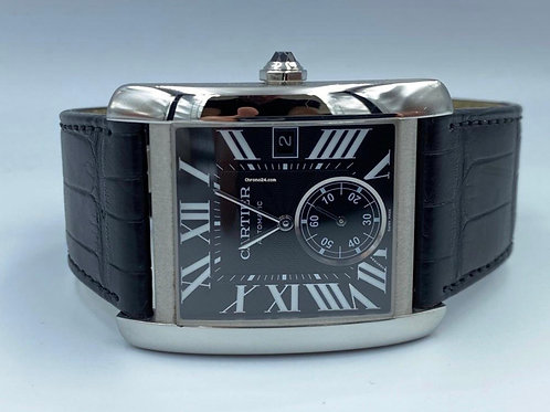 Cartier Tank MC steel with crocodile strap, 2011 box & papers