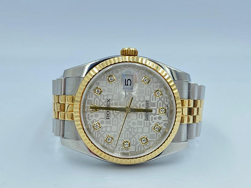 Rolex Datejust 36mm gold/steel diamond dial 2013 box & papers