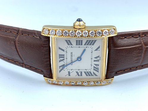Cartier Tank Française 18k yellow gold with diamond 2009 box & Paper