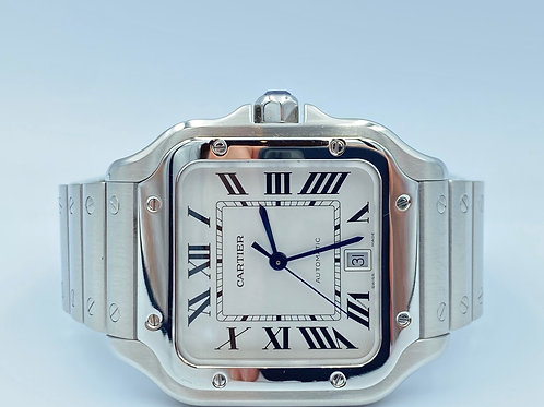 Cartier Santos grand steel 2019 box & papers extended warranty 2027
