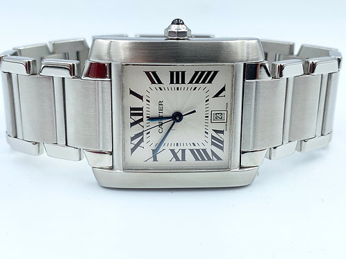 Cartier Tank Française automatic steel large 2006 box & papers