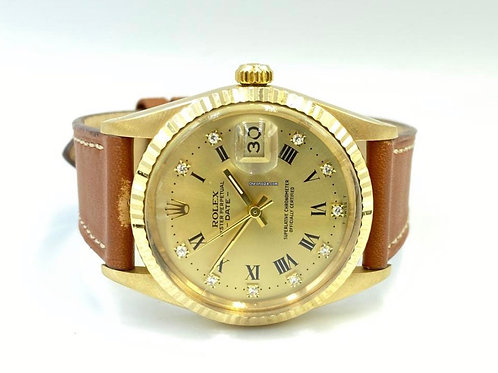 Rolex Oyster Perpetual Date 34mm yellow gold diamond dial
