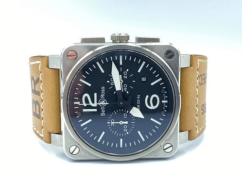 Bell & Ross BR 03-94 Chronographe Aviation type military spec with paper
