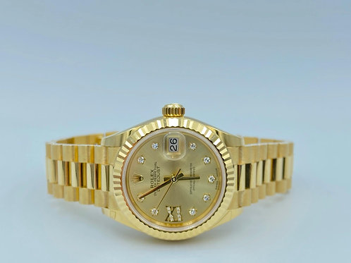 Rolex DateJust 28mm yellow gold president - Diamond dial from 10/2019 full set