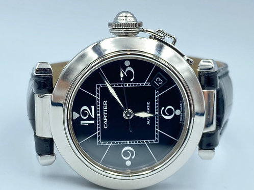 Cartier Pasha steel 35mm from 2002 box & papers black dial & croco strap