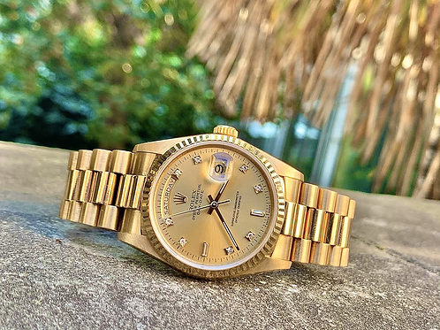 Rolex Day-Date President 36mm yellow gold diamond dial box & papers from 1992