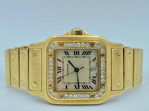 Cartier Santos de Cartier 29MM 18KT Yellow Gold With Diamond Setting Box & paper