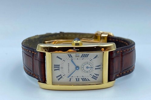 Cartier Tank Americain yellow gold large 1998 box & papers