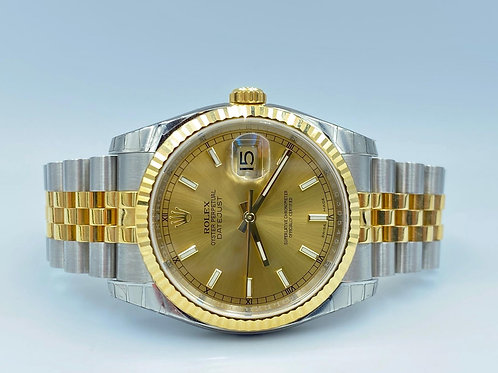 Rolex Datejust 36mm gold/steel NEW in full stickers NOS from 2014 box & papers