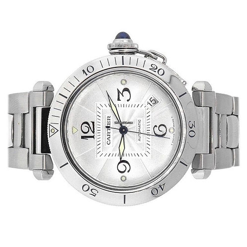 Cartier Pasha steel automatic open back 38mm 2009 box & papers