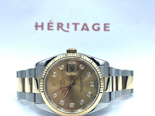 Rolex Datejust 36mm gold/steel diamond dial from 2012 with box Box & papers