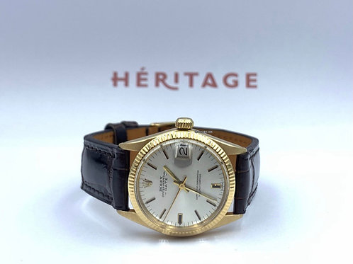Rolex Datejust 31mm yellow gold with crocodile strap