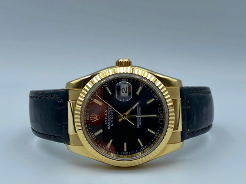 Rolex Datejust 36mm yellow gold leather strap 2004 box & papers