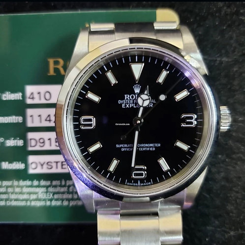 Rolex Explorer 36mm D serial with card from 2005, box & papers