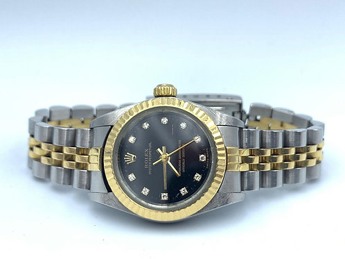 Rolex Oyster Perpetual 25mm Gold/steel black diamond dial from 2001 - no holes