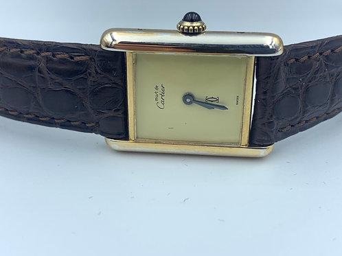Cartier Tank Must de Cartier gold plated mechanical 1993 box & paper