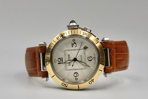 Cartier Pasha Automatic Date 38mm Gold/steel from 2009 box & papers