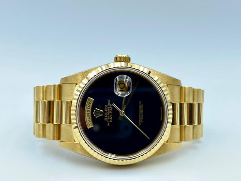 Rolex Day-Date President 36mm yellow gold ONYX dial NOS FULL SET + 2020 Service