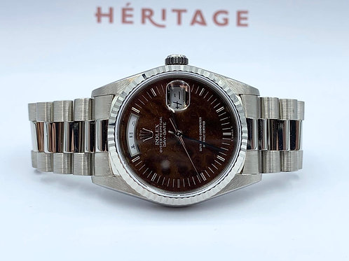 Rolex Day-Date 36mm white gold Walnut dial from 1991 serviced in 2020 by Rolex F