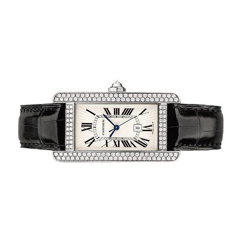 Cartier Tank Americaine white gold diamond bezel 2019 box & papers