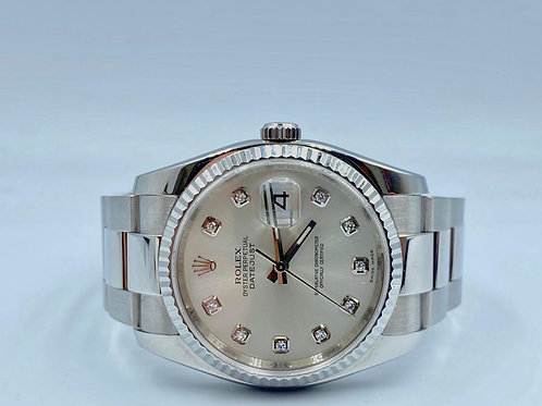Rolex Datejust 36mm steel diamond dial 2008 box & papers