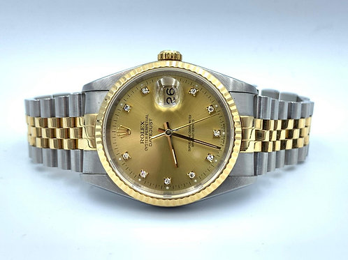 Rolex Datejust 36mm gold/steel diamond dial box & papers from 1992 in beautiful
