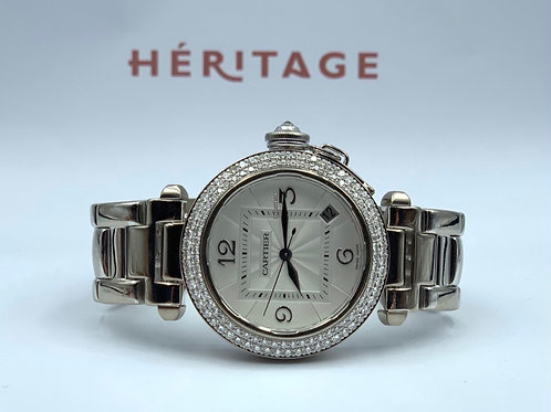 Cartier Pasha full White gold with original diamond bezel from 2013 with box &