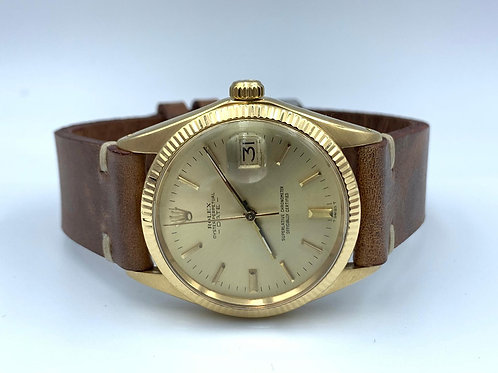 Rolex Date 34mm yellow gold plexi glass from 1990's