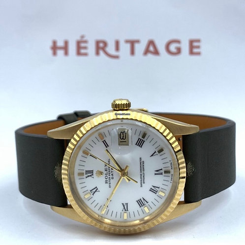 Rolex Oyster Perpetual Date 34mm yellow gold ref 15038 anno 1987 in excellent co