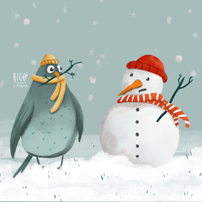 Snowman and pigeon