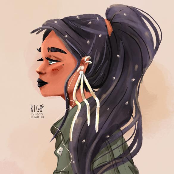 Girl with long  earrings