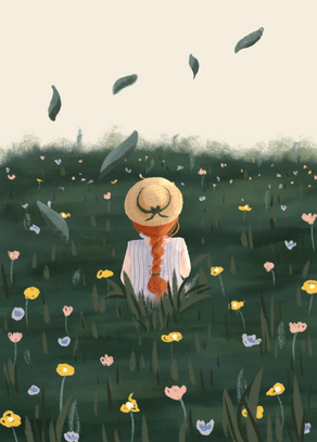 Girl in flower feels