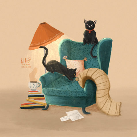 Two cats and a cup of tea