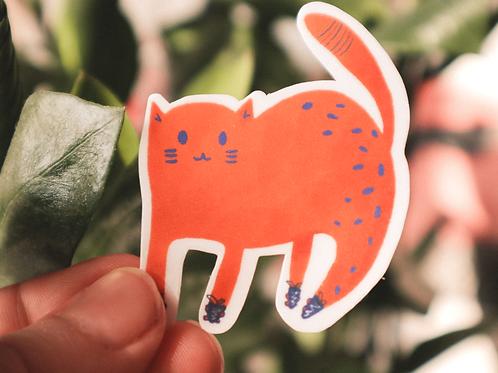 Orange Cat Die Cut Sticker