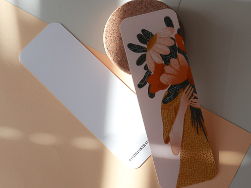 Girl with flowers bookmark