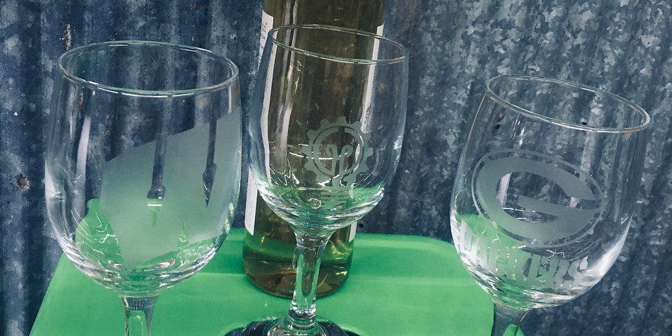 Etched Glass and Drink Holder