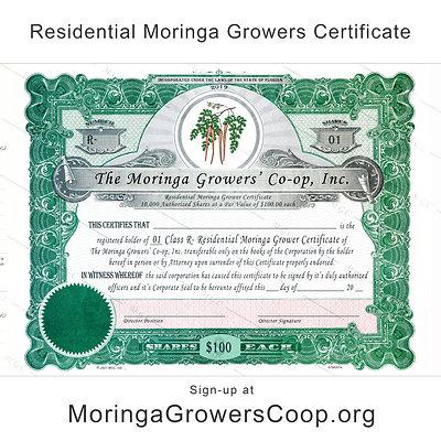 Residential Moringa Growers Certificate - USA