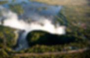 Aerial shot of Vic Falls, Royal Livingst