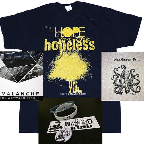 Combo 2 (Hope shirt, 2 cd, 2 bracelet, 1 button, 1 sticker)